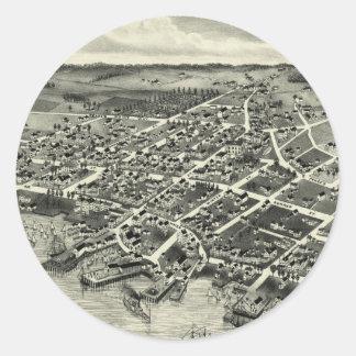 Vintage Pictorial Map of Edgartown MA (1886) Round Sticker