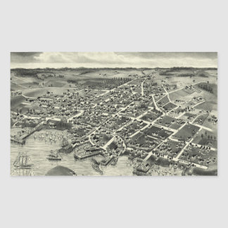 Vintage Pictorial Map of Edgartown MA (1886) Rectangle Stickers