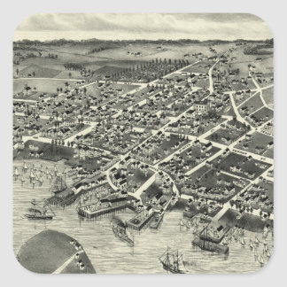 Vintage Pictorial Map of Edgartown MA (1886) Sticker