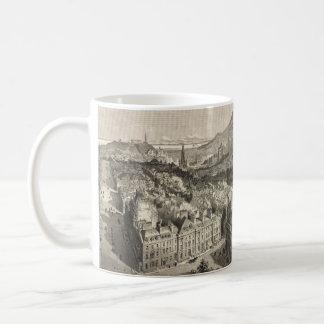 Vintage Pictorial Map of Edinburgh Scotland (1886) Basic White Mug