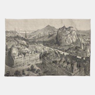 Vintage Pictorial Map of Edinburgh Scotland (1886) Hand Towels