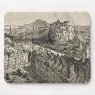 Vintage Pictorial Map of Edinburgh Scotland (1886) Mouse Pad