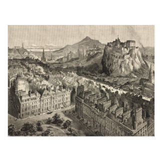 Vintage Pictorial Map of Edinburgh Scotland (1886) Postcard