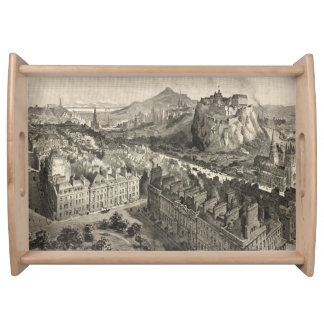 Vintage Pictorial Map of Edinburgh Scotland (1886) Serving Tray
