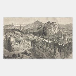 Vintage Pictorial Map of Edinburgh Scotland (1886) Rectangle Stickers