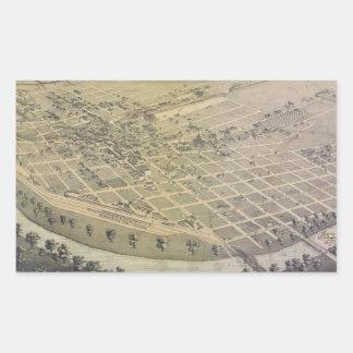Vintage Pictorial Map of El Paso Texas (1886) Rectangular Sticker