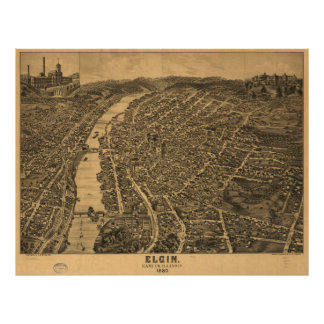 Vintage Pictorial Map of Elgin Illinois (1880) Poster