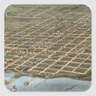 Vintage Pictorial Map of Erie Pennsylvania (1870) Square Sticker