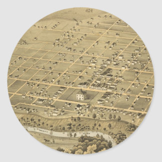 Vintage Pictorial Map of Fort Worth Texas (1876) Round Sticker