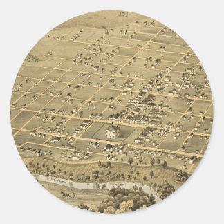 Vintage Pictorial Map of Fort Worth Texas (1876) Round Sticker