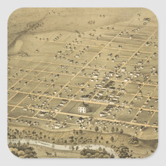 Vintage Pictorial Map of Fort Worth Texas (1876) Sticker
