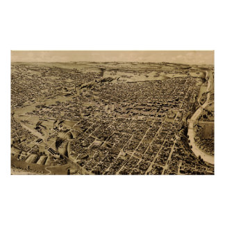 Vintage Pictorial Map of Fort Worth TX (1891) Poster