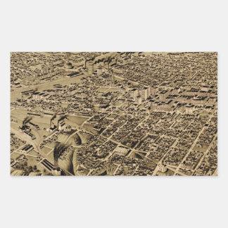 Vintage Pictorial Map of Fort Worth TX (1891) Rectangular Sticker