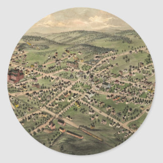 Vintage Pictorial Map of Foxborough MA (1879) Round Sticker