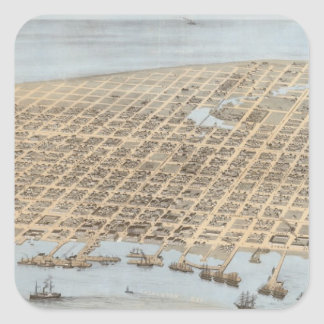 Vintage Pictorial Map of Galveston (1871) Square Sticker