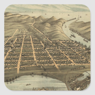 Vintage Pictorial Map of Grand Haven MI (1874) Stickers