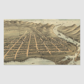 Vintage Pictorial Map of Grand Haven MI (1874) Rectangle Stickers