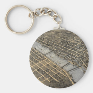 Vintage Pictorial Map of Grand Rapids (1868) Basic Round Button Key Ring