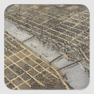 Vintage Pictorial Map of Grand Rapids (1868) Square Sticker