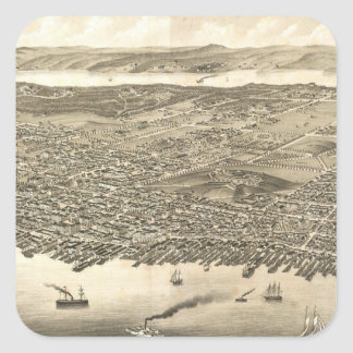 Vintage Pictorial Map of Halifax (1879) Square Sticker