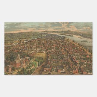 Vintage Pictorial Map of Harrisburg PA (1855) Rectangular Sticker