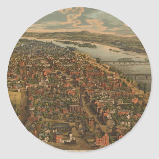 Vintage Pictorial Map of Harrisburg PA (1855) Round Sticker