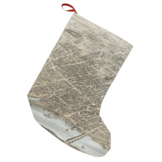 Vintage Pictorial Map of Hartford CT (1877) Small Christmas Stocking