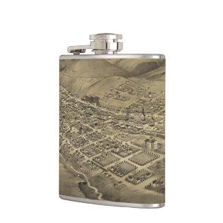 Vintage Pictorial Map of Helena Montana (1875) Hip Flasks