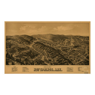 Vintage Pictorial Map of Hot Springs AR (1888) Poster