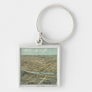Vintage Pictorial Map of Iowa City (1868) Silver-Colored Square Key Ring