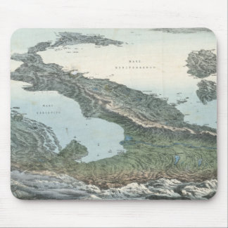 Vintage Pictorial Map of Italy (1853) Mouse Pad