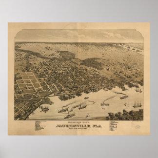 Vintage Pictorial Map of Jacksonville FL (1874) Poster