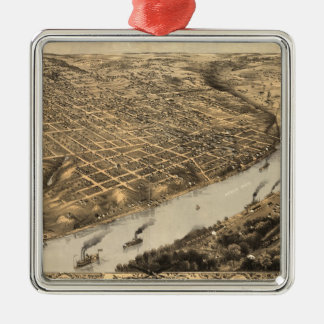 Vintage Pictorial Map of Kansas City (1869) Christmas Ornament