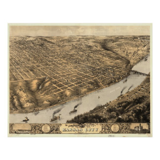 Vintage Pictorial Map of Kansas City (1869) Poster