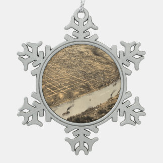 Vintage Pictorial Map of Kansas City (1869) Snowflake Pewter Christmas Ornament