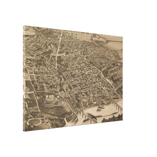 Vintage Pictorial Map of Knoxville (1886) Canvas Print