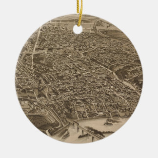 Vintage Pictorial Map of Knoxville (1886) Round Ceramic Decoration