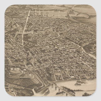Vintage Pictorial Map of Knoxville (1886) Square Sticker