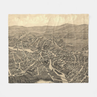 Vintage Pictorial Map of Laconia NH (1883) Fleece Blanket