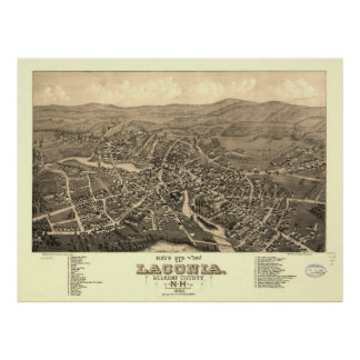 Vintage Pictorial Map of Laconia NH (1883) Poster