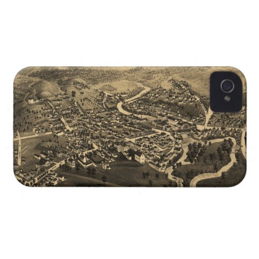 Vintage Pictorial Map of Lancaster NH (1883) iPhone 4 Case-Mate Case