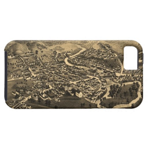 Vintage Pictorial Map of Lancaster NH (1883) iPhone 5 Covers