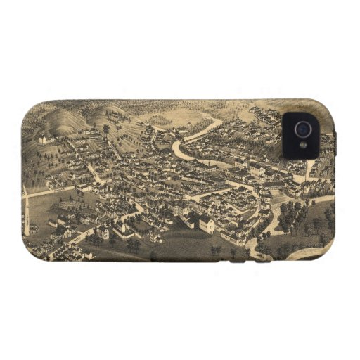 Vintage Pictorial Map of Lancaster NH (1883) Case-Mate iPhone 4 Cases