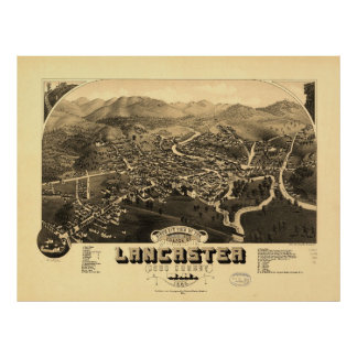 Vintage Pictorial Map of Lancaster NH (1883) Poster