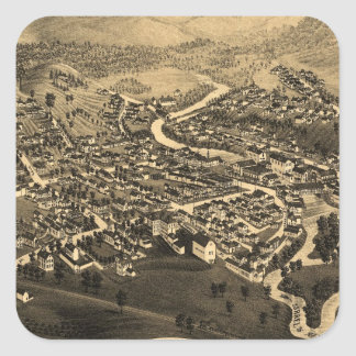 Vintage Pictorial Map of Lancaster NH (1883) Square Sticker