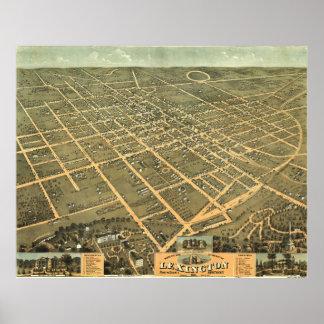 Vintage Pictorial Map of Lexington Kentucky (1871) Poster