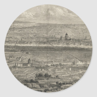Vintage Pictorial Map of London England (1861) Round Sticker