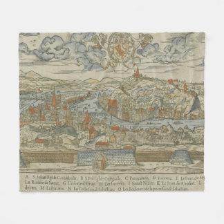 Vintage Pictorial Map of Lyon France (1555) Fleece Blanket