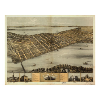 Vintage Pictorial Map of Madison Wisconsin (1867) Poster