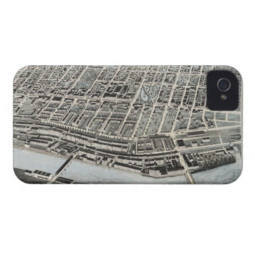Vintage Pictorial Map of Manchester NH (1876) iPhone 4 Cover
